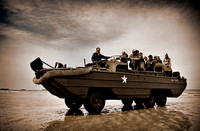 DUKW on Gold Beach. Arromanches, Normandy, France.