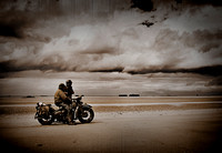 Harley Davidson on allied beach, Normandy, France.